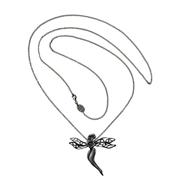 gioiello libellula argento nero