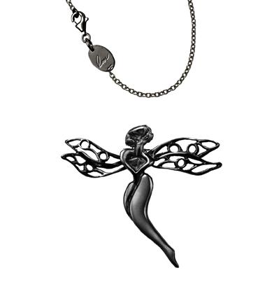 gioiello libellula argento nero dettaglio libellula