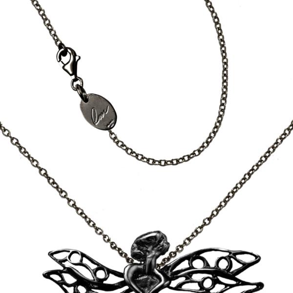 gioiello libellula argento nero dettaglio moschettone