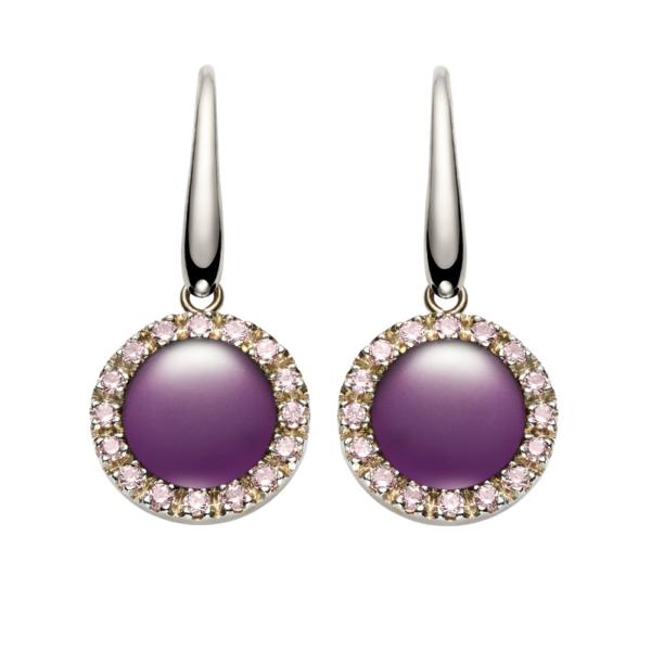 orecchini urania ametista lucida zirconi rosa